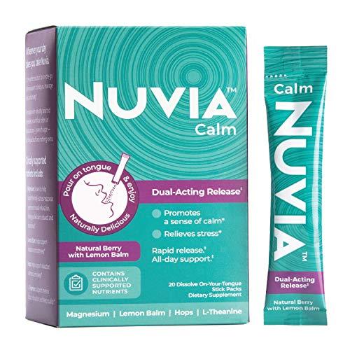 NUVIA CALM | Stress Relief Supplement with Magnesium, Lemon Balm & Hops | Pour-On-Tongue Dissolvable Powder | Natural Berry Flavor | Vegan | 20 Stick Packs