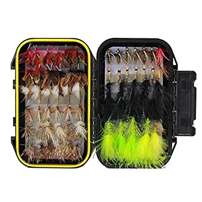 Fly fishing Flies Wet FLies Assortment Kit with Waterproof Fly Box for Trout fishing from Croch