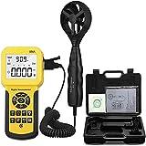 Anemómetro Digital de Mano CFM Pro Anemómetro Mide la Velocidad del Viento,el Flujo del Viento,La Temperatura del Viento para HVAC Medidor de Velocidad de Flujo de Aire con USB…