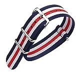 22 millimetri blu/bianco/rosso Premium Deluxe stile robusto nylon sportivo da polso cinturino bracciale da uomo esotico