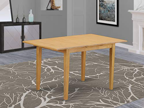 East West Furniture NFT-OAK-T Butterfly Leaf Norfolk Table - Oak Table Top Surface and Oak Finish Amazing 4 Legs Hardwood Structure Wood Kitchen Table