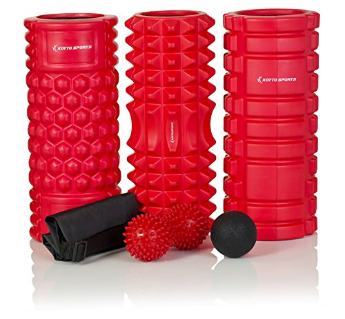 Foam Roller set – 33 cm Rullo in schiuma ad alta densità per massaggio, Lacrosse sfera di massaggio, Spiky Peanut Ball, borsa per il trasporto e e-book manuale