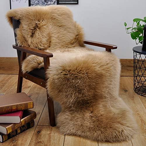 HUAHOO Mocha Sheepskin Rug Double Pelt Natural Fur Blanket Seat Covers 2ft x 6ft Genuine Sheepskin product image