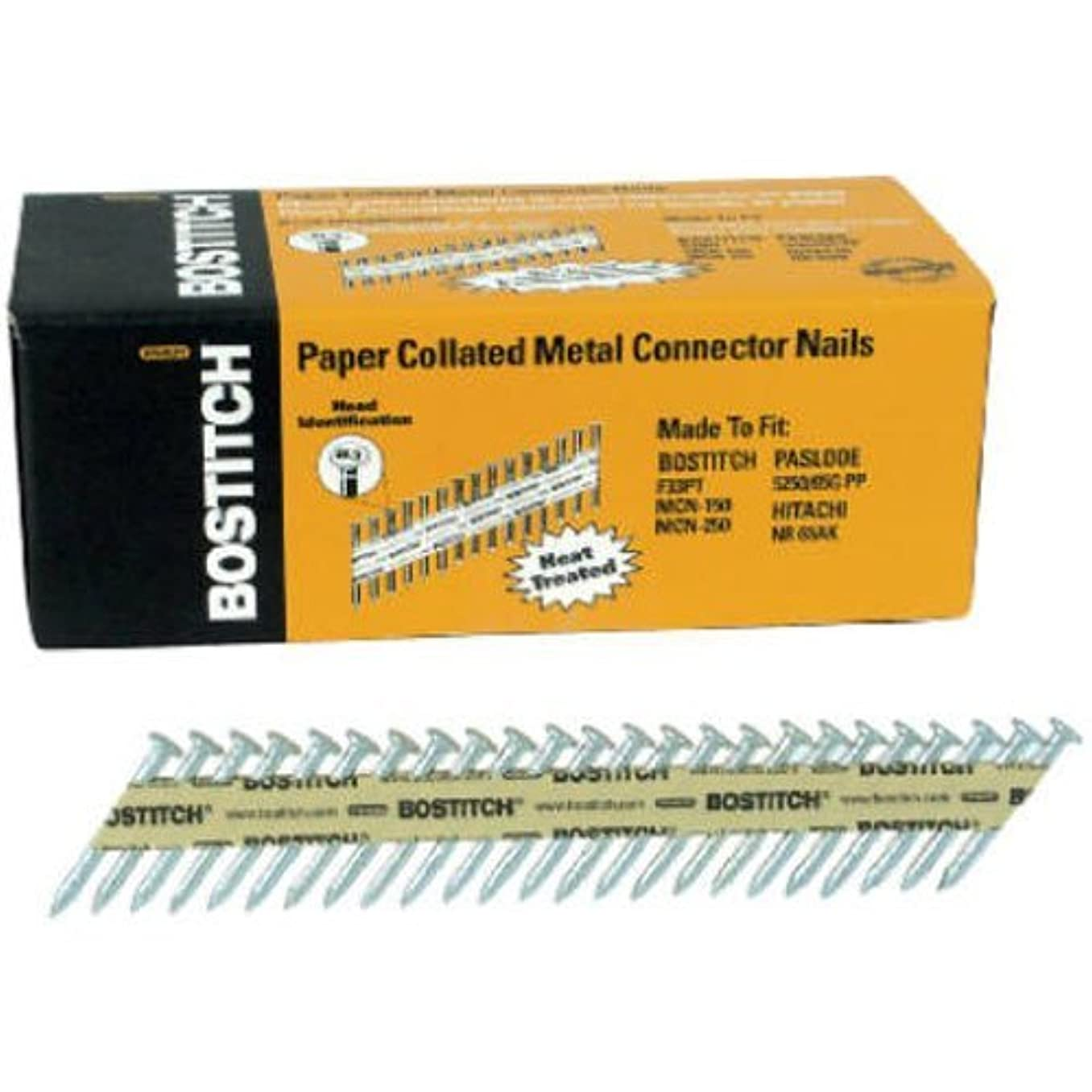 BOSTITCH PT-MC13115GAL-1M 1 1/2-Inch x .131 Paper Tape Collated Galvanized Metal Connector Nails, 1000-Qty. - PT-MC13115G-1M