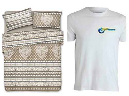 Smartsupershop Bettbezug mit Kissenbezügen Doppelbett Mis. 250x 200–Tirol beige–Shirt Staff gratis–aus Baumwolle Made in Italy