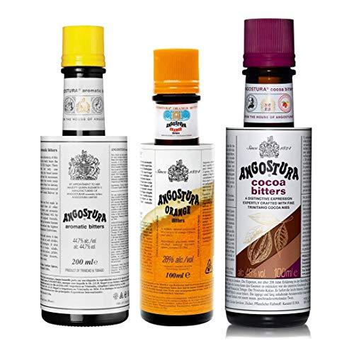 The Angostura Family - Set de regalo - Angostura Bíter Aromático, 200 ml, Bíter de Naranja Angostura, 100 ml y Bíter de Cacao Angostura, 100 ml