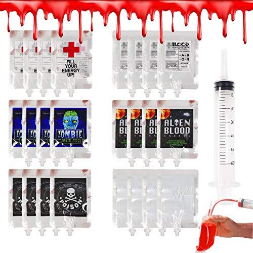 ALINILA Halloween Trinkgefäß Befüllen Blutbeutel(24er Pack ) Infusionsbeutel Getränkebeutel Wiederverwendbare,mit Spritze, Perfekt als Halloween Requisit, Dekoration,Zombie Party