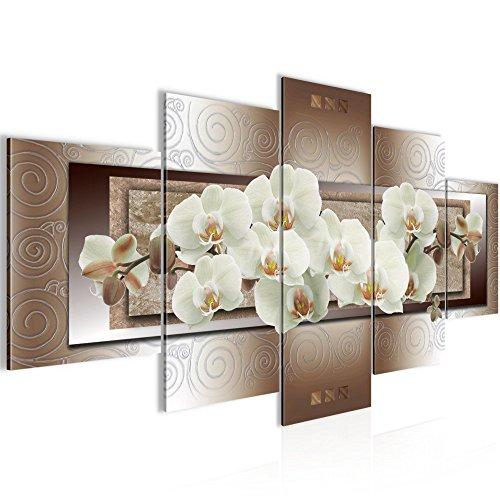 Runa Art Bilder Blumen Orchidee Wandbild 200 x 100 cm Vlies - Leinwand Bild XXL Format Wandbilder Wohnzimmer Wohnung Deko Kunstdrucke Braun 5 Teilig - Made IN Germany - Fertig zum Aufhängen 205451c