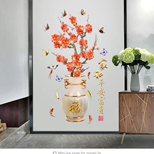 Zybnb Style Chinois Jardiniere Plum Blossom Stickers Muraux Cabinet Fenêtre En Verre Décor Stickers Muraux Bureau Maison Décoration Papier Peint Art