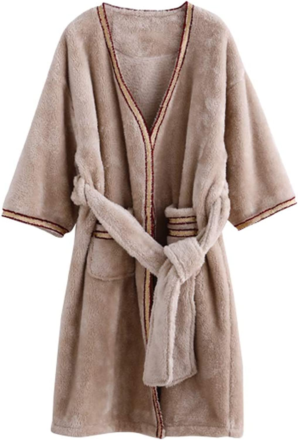 Womens Solid color Robe, Plush Microfiber Bathrobe (Size   L)