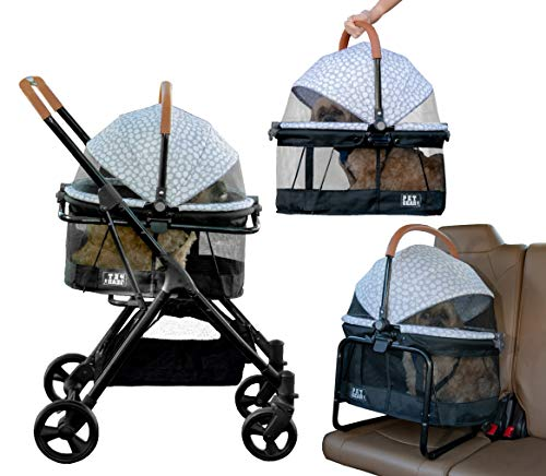 Pet Gear View 360 Pet Stroller Travel System 3-in-1 Carrier, Booster Seat and Stroller with Push Button Entry, Silver Pearl (PG8140NZSP) 6