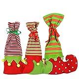 WONGYEE 3pcs Christmas Wine Bottle Cover, Elf Boots Stocking Gift Wine Bags Christmas Stocking Decoration