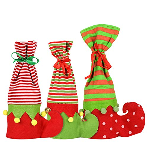 WONGYEE 3pcs Christmas Wine Bottle Cover, Elf Boots Stocking Gift Wine Bags Christmas Stocking Decoration