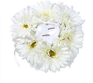 Amosfun Sunflower shape wedding ring pillow ring bearer pillow wedding party favors supplies (Milk White)