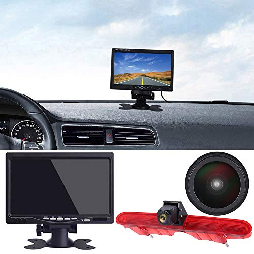 「18mm Linse Top Qualität Rückfahrkamera+ 7 Zoll TFT LCD Bildschirm Monitor」Bremsleuchte Auto Dach Rückfahrkamera für Peugeot Partner 2 II Tepee Rifter/Citroen Berlingo 3 III 4 IV B9 Kasten ab Bj