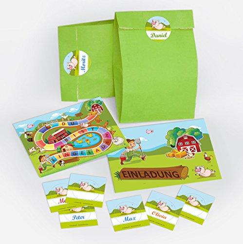 10 Einladungskarten Kindergeburtstag Bauernhof incl. 10 Umschläge, 10 Tüten, 10 Aufkleber / Schatzsuche / Outdoor / für Mädchen und Jungen