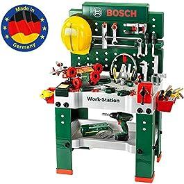 Theo Klein- Banco da Lavoro n. 1 Bosch, 150 Pezzi, incl. Avvitatore a Batteria, Set da Costruzione,