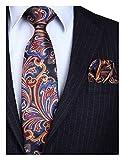 hisdern cravatta da uomo paisley floreale extra lungo e fazzoletto 8.5cm cravatte e fazzoletti set formale matrimonio(160cm)