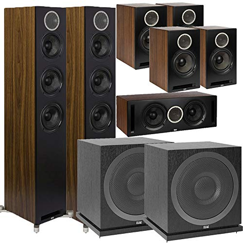 Great Deal! ELAC Debut Reference DFR52 Floorstanding Speaker - Pair - Black/Walnut 7.2 Channel Home ...