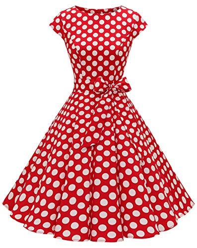 MuaDress 1956 Damen Vintage 1950er Retro Rockabilly Cocktail Prom Kleider Cap-Sleeve Rot Große Weiß Punkte XXL