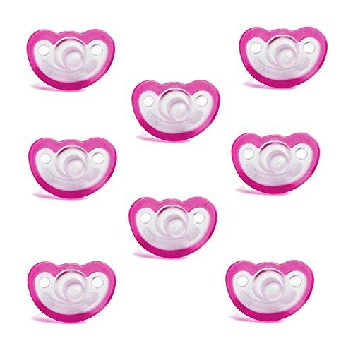 Razbaby JollyPop Baby Pacifier 0-3 Months 8 Pack - Pink