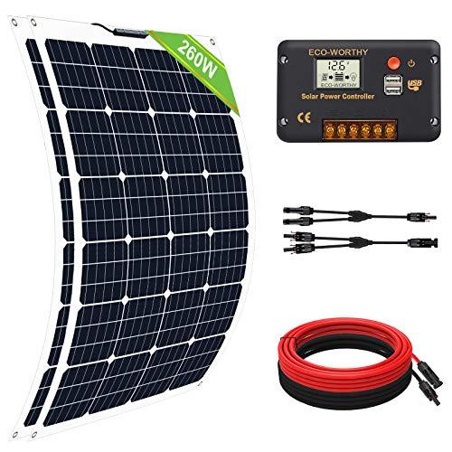 ECO-WORTHY Kit Basic 260W 12V: 1 Panel Solar Flexible con Controlador de Carga 20A + Accesorios de Montaje para Caravana, RV, Barco, Marina, Aplicación Fuera de la Red