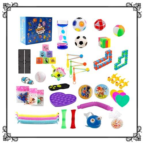 Fidget Toy Set Box Spielzeug Cube Anti Stress BäLle Ball Pack WüRfel Sensory Orbeez Autismus Monkey Noodles Marble Mesh Pad Globbles Controller DNA Jungen Wacky Tracks Kinder ab 4 5 6 Jahre