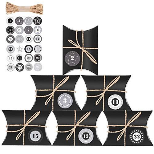 JOYUE Adventskalender zum Befüllen, 24 Adventskalender Kraftpapier Tüten mit 24 Zahlenaufklebern, Geschenkschachteln für Weihnachten zum Basteln und Verzieren, Vintage-Stil Adventskalender Bastelset