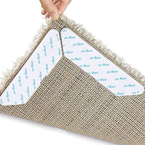 LUVODI Antirutschmatte für Teppich 8 Stück Teppichgreifer Anti Rutsch Teppichunterlage 3M Klebstoff Wiederverwendbar Rutschschutz (Weiß)