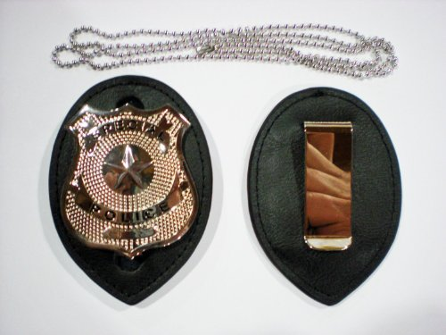 Police Clip on Leather Badge holder and Chain BADGE NOT INCLUDED! by The X Bay