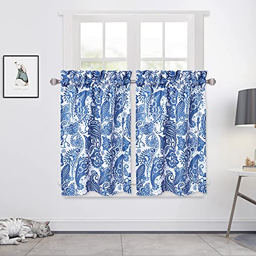 """CAROMIO Paisley Floral Pattern Window Tier Curtains for Kitchen Small Cafe Curtains Oxford Cloth Rod Pocket for Window Treatment, 27""""X30"""", Navy Blue, 1 Pair"""