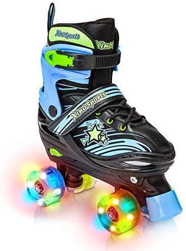 Kids Roller Skates,Adjustable 4 Sizes Skates with All Wheels Light Up for Boys and Girls,Safe and Durable Children Rainbow Roller Skates Perfect for Beginners