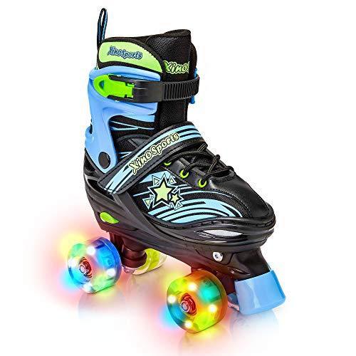 Xino Sports Adjustable Roller Skates for Children - Featuring Illuminating LED PU Wheels, Safe and Durable Roller Skates, Perfect for Boys and Girls! Black Size Large 5-8