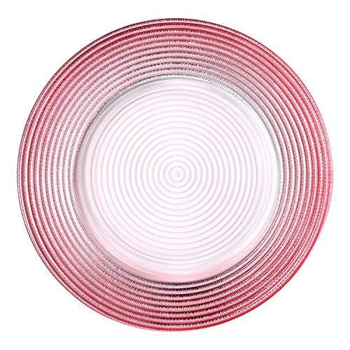 BaoWnylz Grandes Platos llanos, Paquete de 4, Placa de vidrio-patrón Espiral Rosa-vajillas...