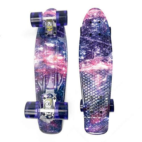 HBHHYRT Skateboard Completo 21.6 Inch Mini Cruiser Skateboard con Ruedas LED Intermitentes para Niños, Adultos, Principiantes, Profesionales.