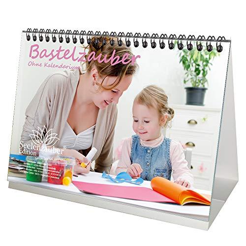 Tischkalender DIN A5 Bastelzauber weiß OHNE KALENDARIUM Geschenk-Set 1 Grußkarte 1 Weihnachtskarte Selbstgestalten Bastelkalender Fotokalender Basteln ·Seelenzauber