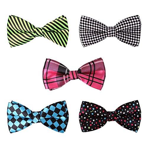 BMC 5 pc Mens Mixed Color Assorted Pattern Formal Pre-Tied Adjustable Neck Tie Bowties - Set 1: Color Me Crazy