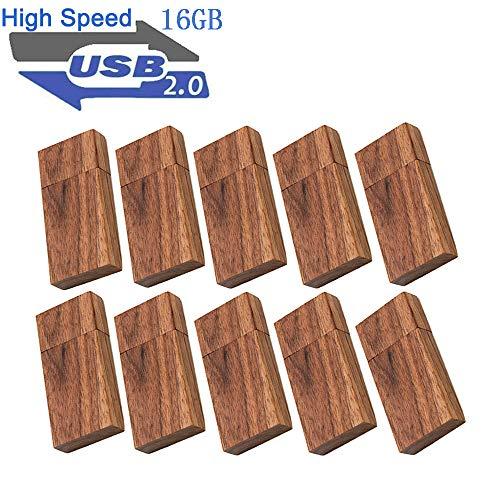 USB 16GB Flash Drive 10 Pack, EASTBULL Wooden USB Flash Drives Thumb Drives Memory Stick USB 2.0 Pen Drive for Date Storage