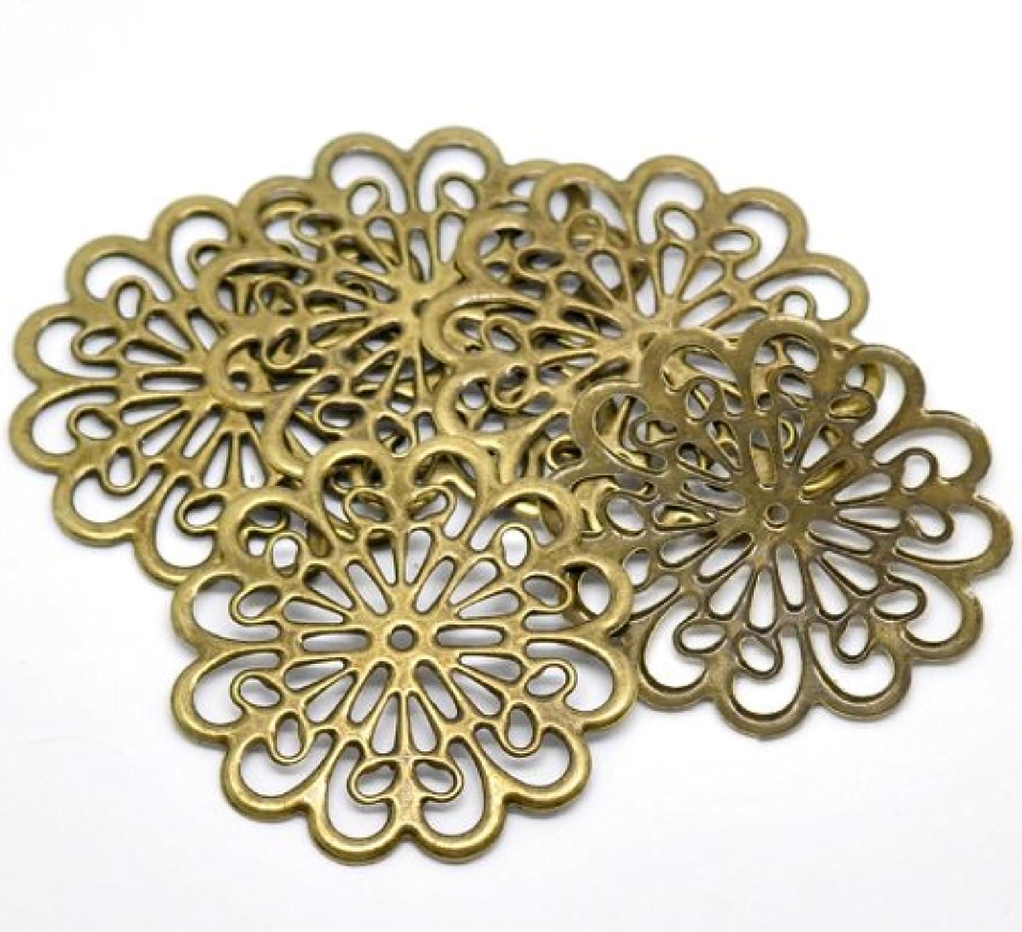 20PC Antique Bronze Filigree Flower Wraps Connectors Embellishments Findings ...