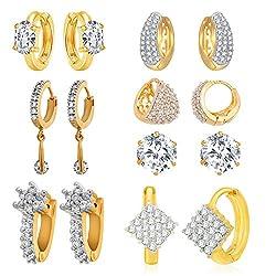 cbe704b66 Jewels Galaxy White American Diamond Combo Of 7 Hoop Earrings For Women