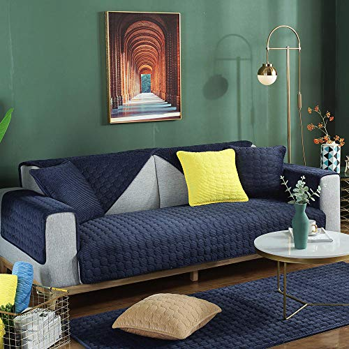 YUTJK Sofa Auflage,Sofa schutzDecke,Schonbezüge Cord Couch Bezug Kissen Kissen Verdickung Sofa Pad Handtuch Couches Covers für Wohnzimmer-Navy blau_90*210cm