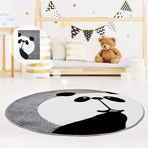 MyShop24h Kinderteppich Spielteppich Teppich Kinderzimmerteppich Hochwertig Panda-Bär in Pastell-Grau mit Konturenschnitt, Größe in cm:120 x 120 cm rund
