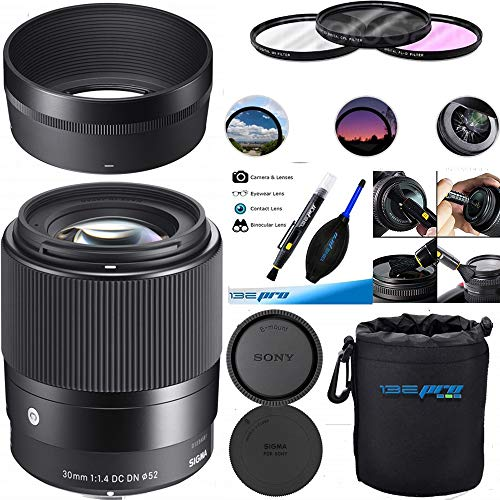 Sigma 30mm f/1.4 DC DN Contemporary Lens for Sony E - Deal-Expo Accessories Bundle