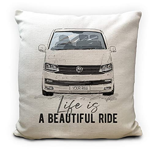 Personalised Camper Van Transporter T6 Cushion Cover Gift 5 Colour Choices...