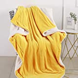 CozyLux Sherpa Fleece Blanket Throw Size Yellow 50' x 60' Soft Lightweight Fuzzy Reversible Throws Cozy Warm Thick Plush Blankets Luxury Microfiber Bed Blanket for Travel Camping Couch Sofa Chair
