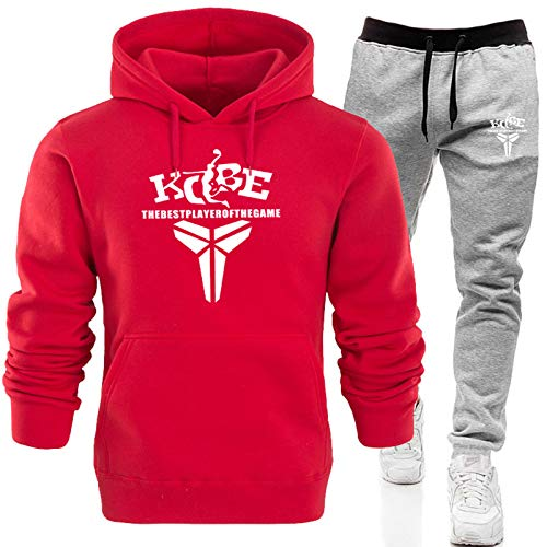 XIKONG Kobe Lakers # 24 Mens Sudadera con Capucha Sudadera Sudadera, Sudadera con Capucha De Manga Larga Sportswear Traje Masculino De Cordón Pantalones Red-M