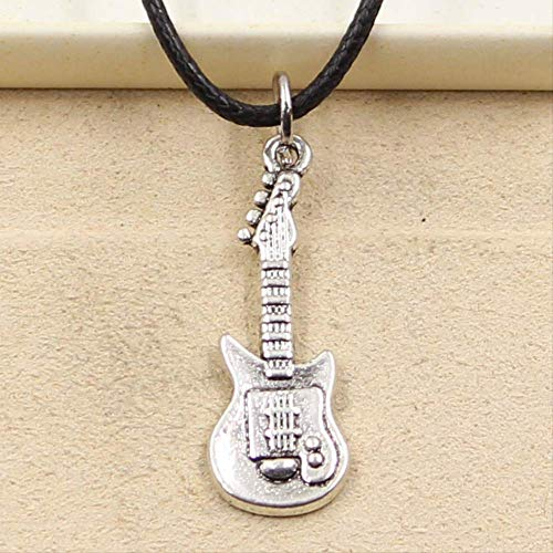nobranded Neue robuste Schwarze Kunstleder Gitarre Cord Choker Charm DIY Halskette Anhänger Retro Boho Tibetan Silber Farbe