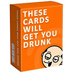 These Cards Will Get You Drunk Fun Adult Drinking Game for Parties orange box with bald cartoon man
