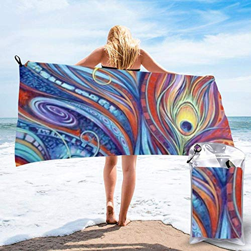 Beach Towels Toalla ligera de secado rápido con plumas de pavo real, toalla súper absorbente sin arena para viajes, natación, gimnasio, yoga 140X70CM
