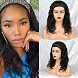 Huarisi Body Wave Headband Wig Brazilian Human Hair Wigs 16 Inches No Lace Wig Body Wave Natural Wavy Virgin Hair Wig Machine Made for Black Women